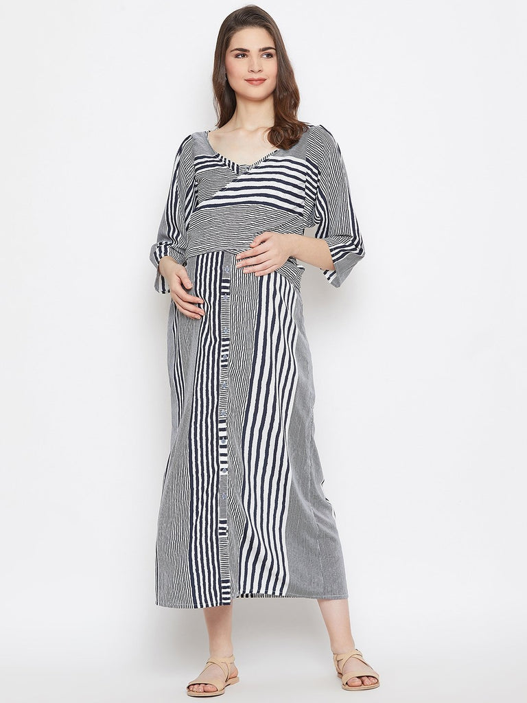 Women White Striped Fit and Flare Maternity Dress