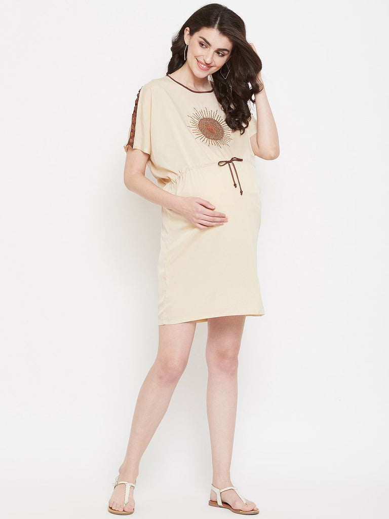 Women Beige Embroidered Maternity Kaftan Dress
