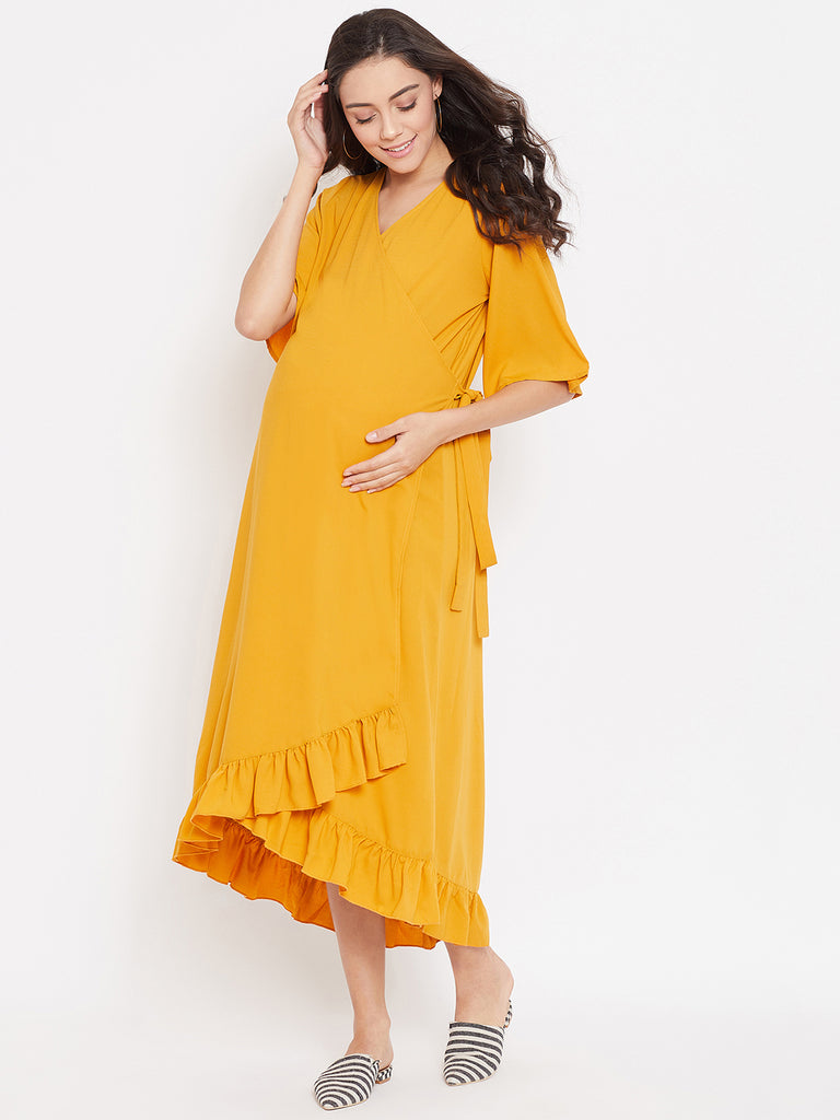 SOLID MUSTARD MATERNITY WRAP DRESS