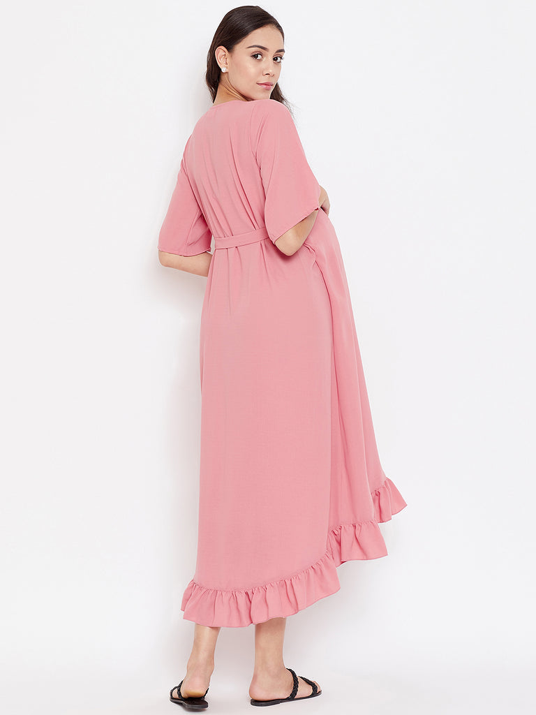 BLUSH PINK MATERNITY WRAP DRESS