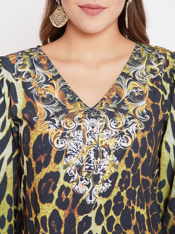 Adorned Leopardess Maxi Dress