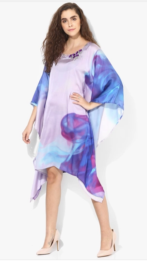 Satin Ombre Printed Kaftan with Embellishments