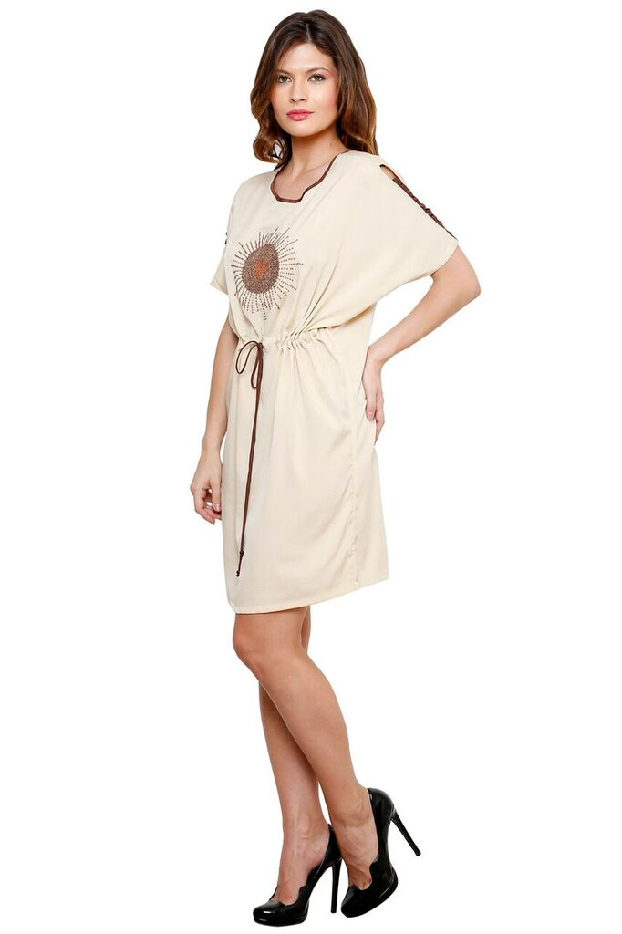 CREAM EMBROIDERED KAFTAN DRESS