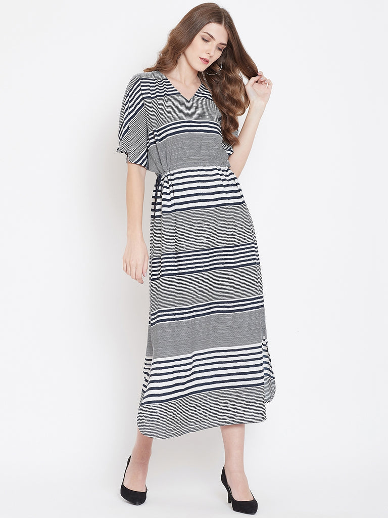 MONOCHROME STRIPES KAFTAN DRESS