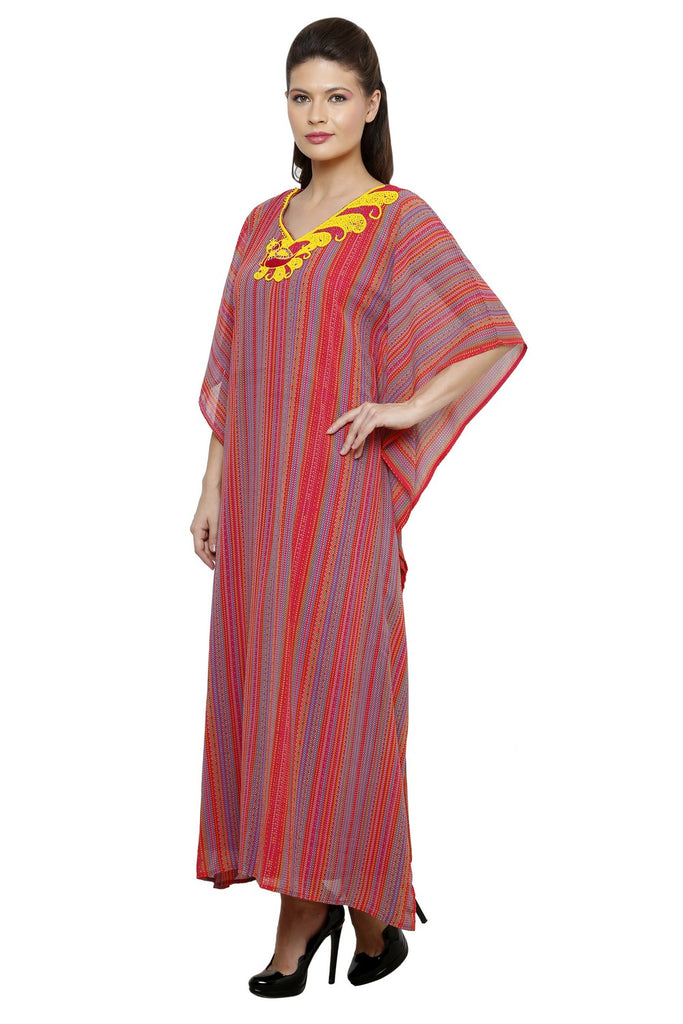SCARLET EMBROIDERED KAFTAN DRESS