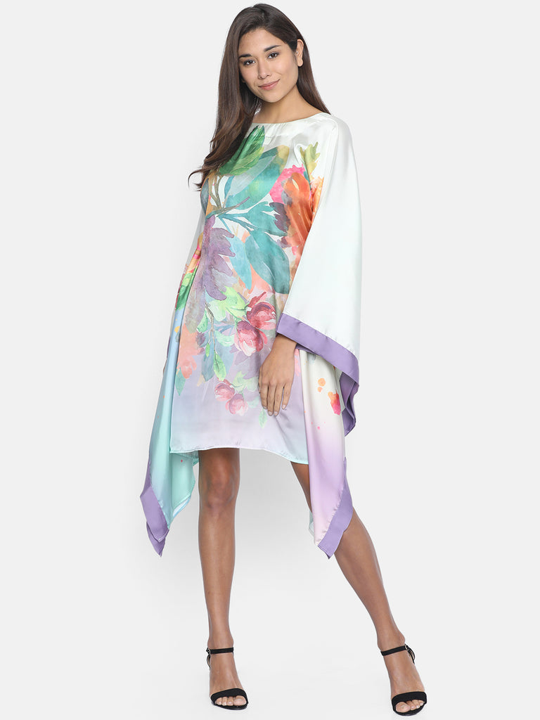 HOLOGRAPHIC FLORAL KAFTAN DRESS