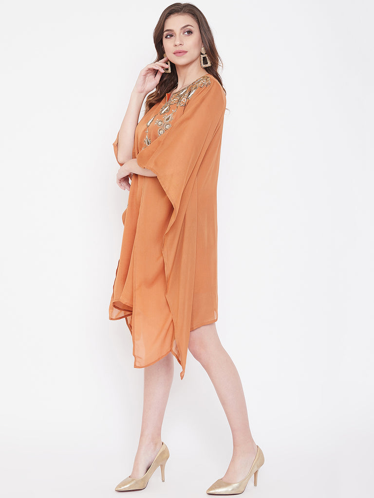 Rust Zari Embroidery Silk Kaftan