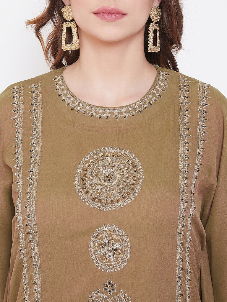Mehndi Green Zari Embroidery Silk Kaftan