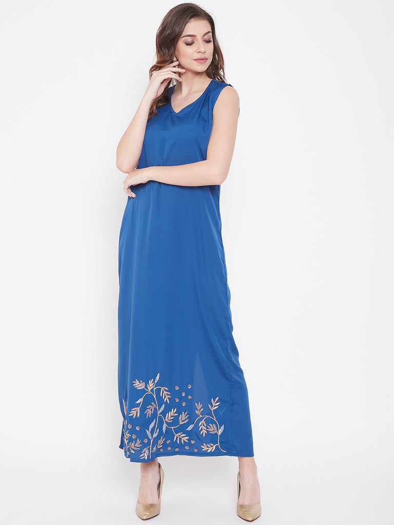 Ombre Blue Zari Embroidery Chiffon Maxi Dress