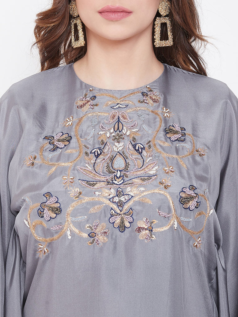Zari Embroidery Grey Silk Kaftan