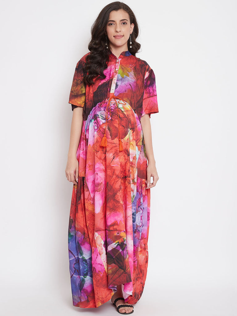 Red Cosmos Maternity And Nursing Maxi Dress
