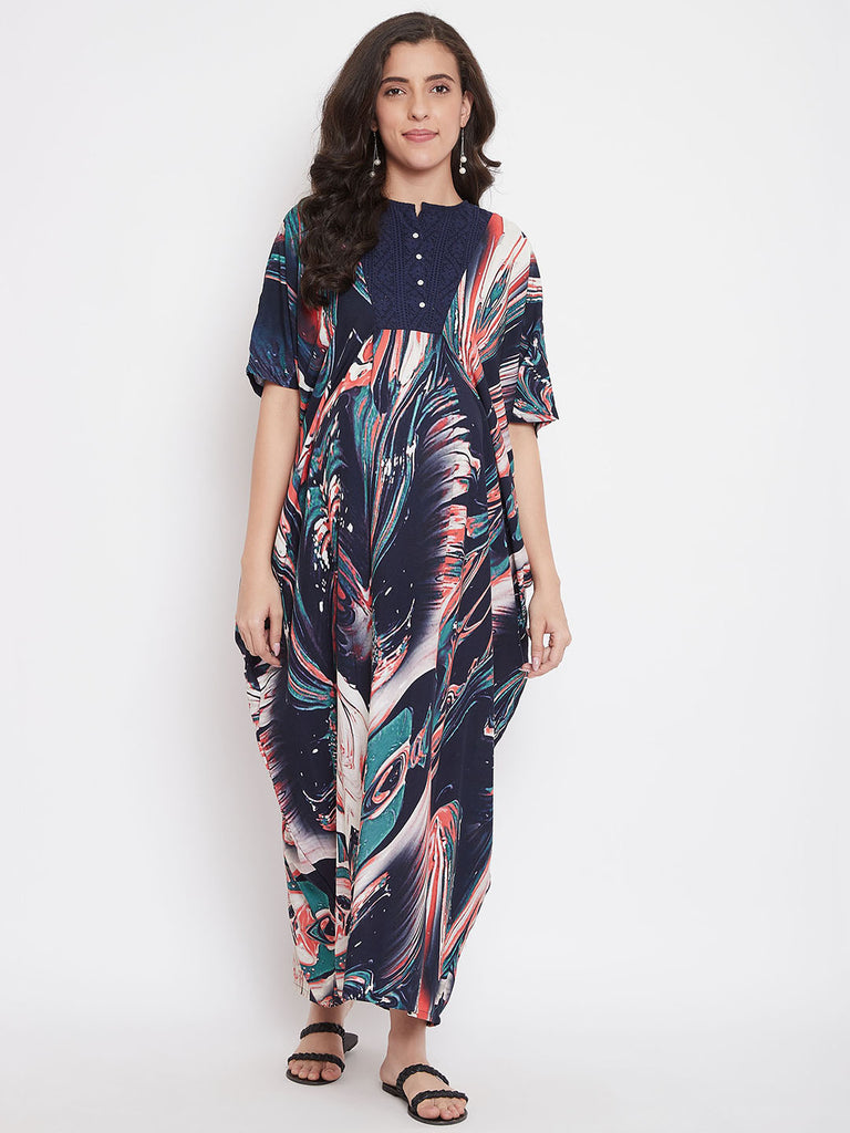 Splashy Marble Maternity and Nursing Maxi Dress