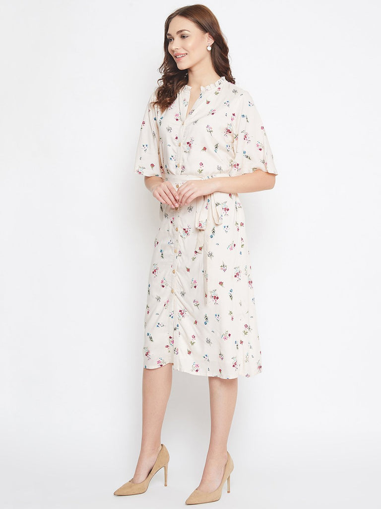 BEIGE FLORAL PRINTED WORKWEAR DRESS WITH BELT