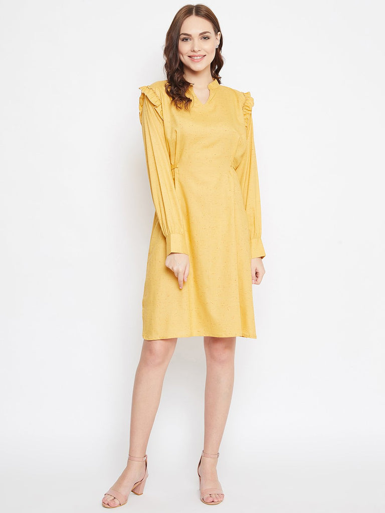 YELLOW SOLID WORKWEAR DRESS