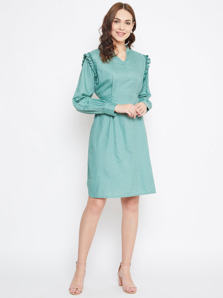 SEA GREEN SOLID WORKWEAR DRESS