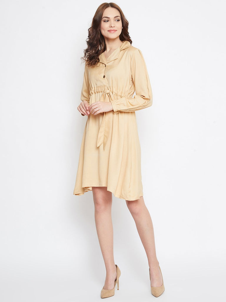 BEIGE SOLID WORKWEAR DRESS