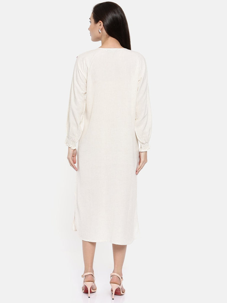 Women Off-White Printed A-Line Dress