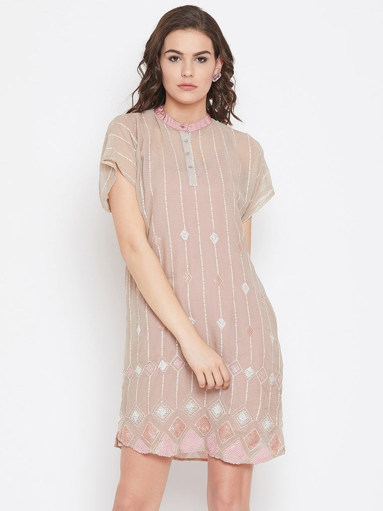 Women Beige Self Design A-Line Dress
