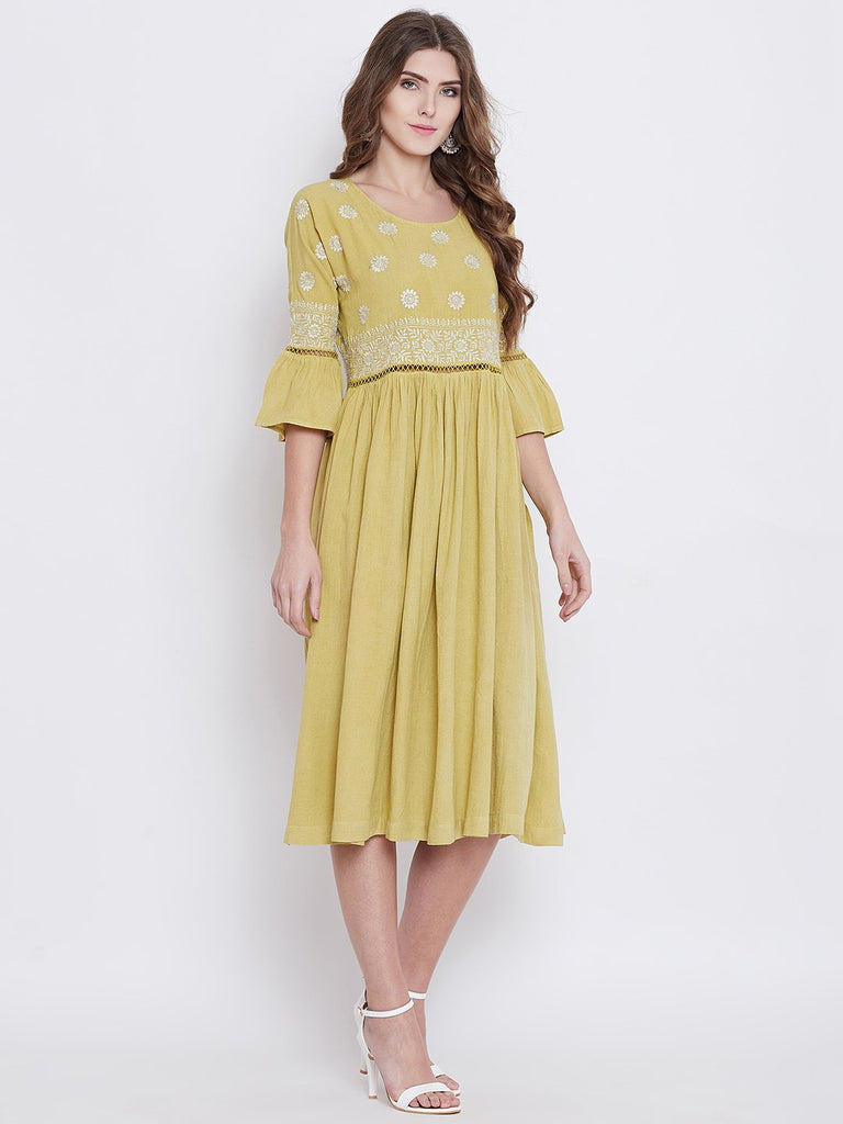 Women Green Printed Fit and Flare Dress