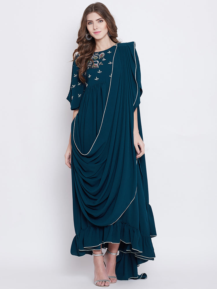 VIRIDESCENT SWAG DRAPED KAFTAN