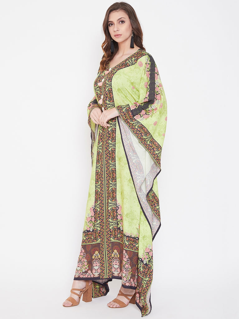 Green Gypsy Kaftan Maxi Dress