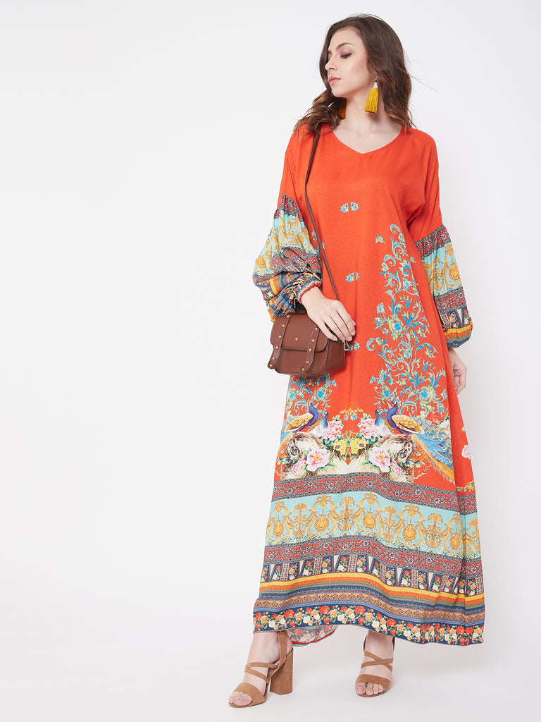 Graceful Peacock Maxi Dress with Balloon Sleeve