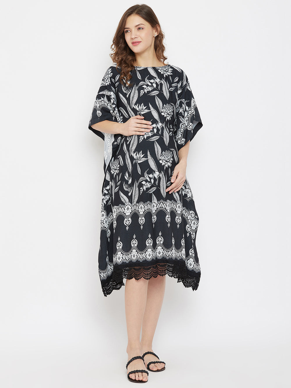 Monochromatic Tropical Knee Length Maternity Kaftan Dress with Lace