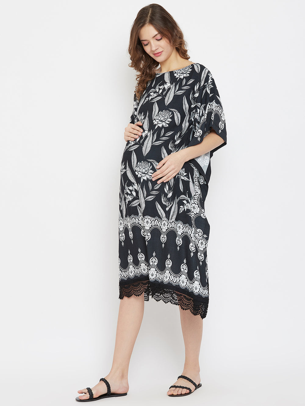 Monochromatic Tropical Knee Length Maternity Kaftan Dress