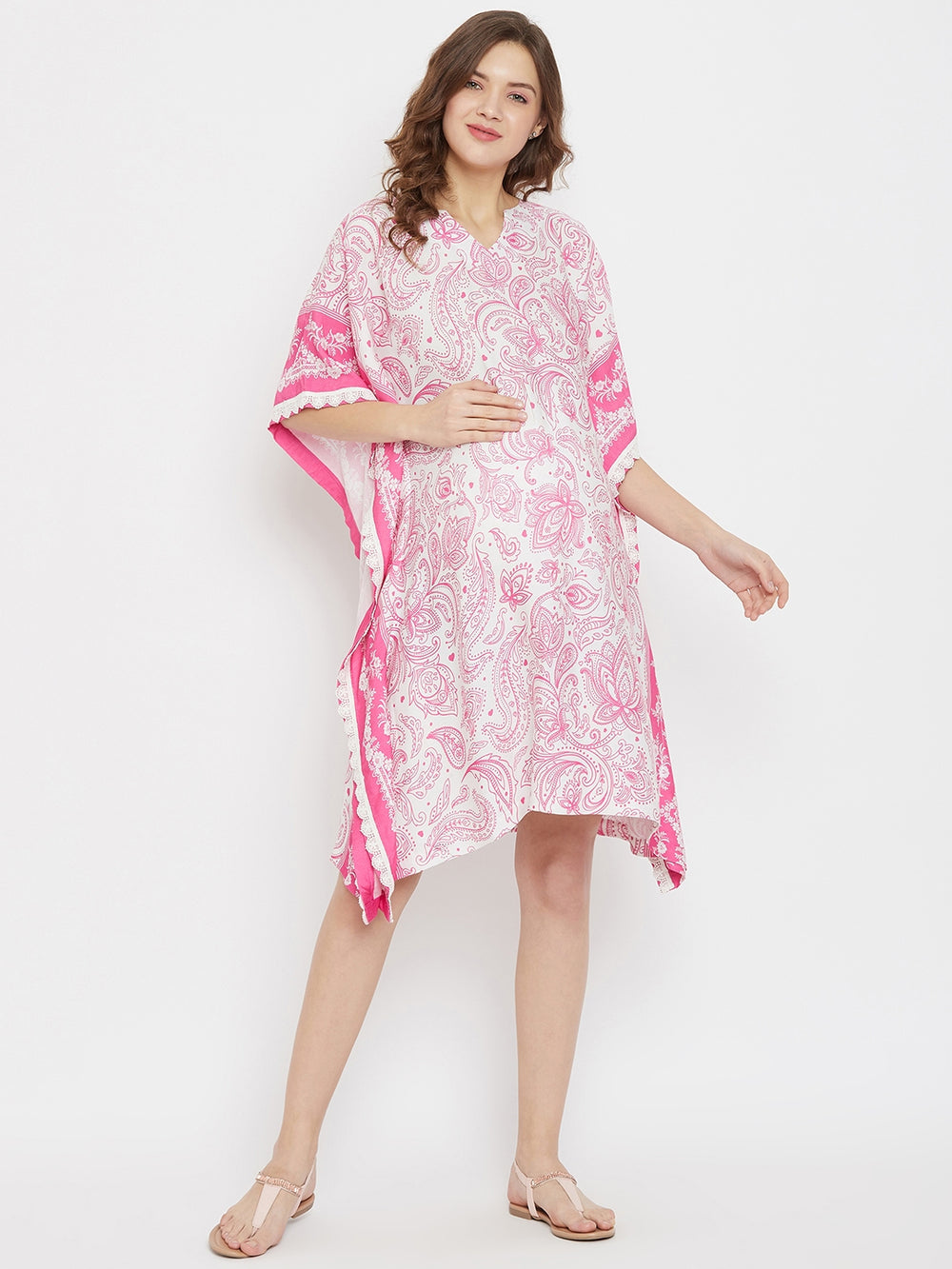 Pink and White Knee Length Maternity Kaftan Dress