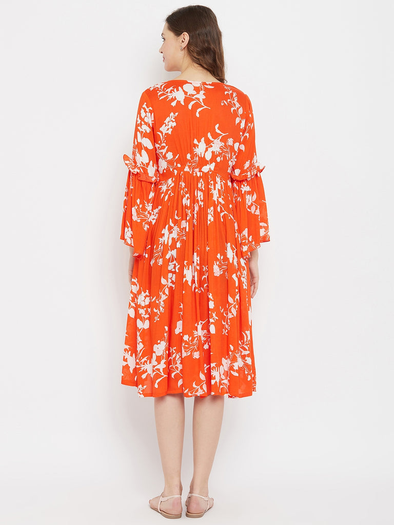 Orange Blossom Rayon Maternity and Feeding Dress