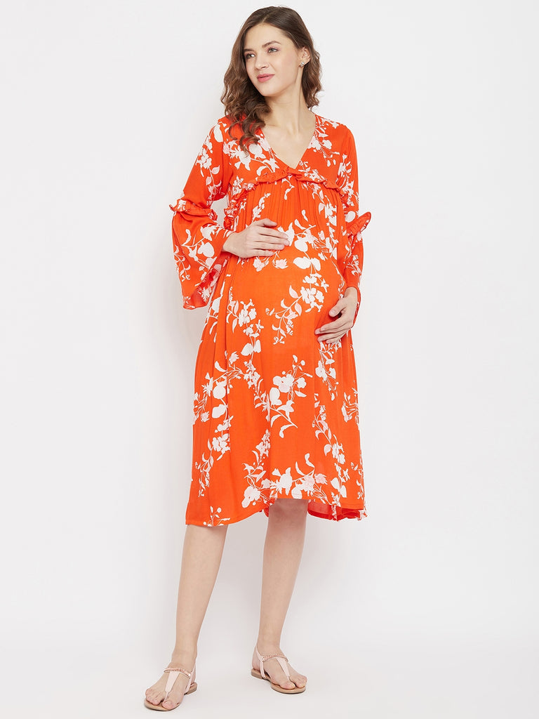 Orange Blossom Rayon Maternity and Feeding Dress with Gather and Ruffles