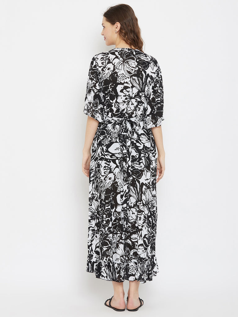 Black and White Printed Viscose Maternity Wrap Dress