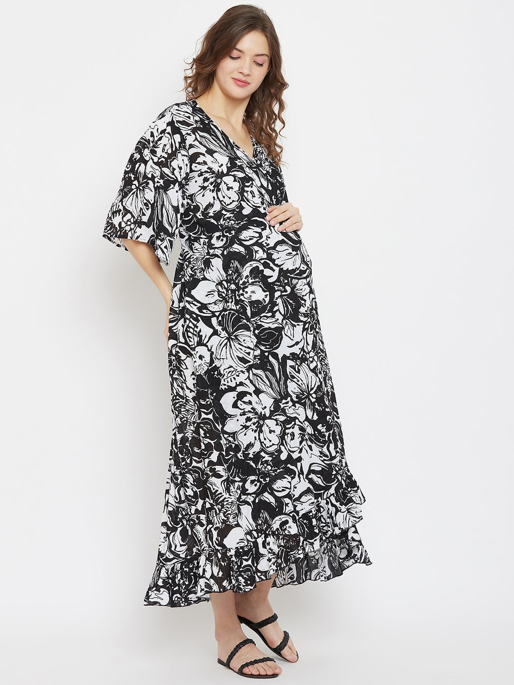 Black and White Printed Viscose Maternity Wrap Dress with Ruffles