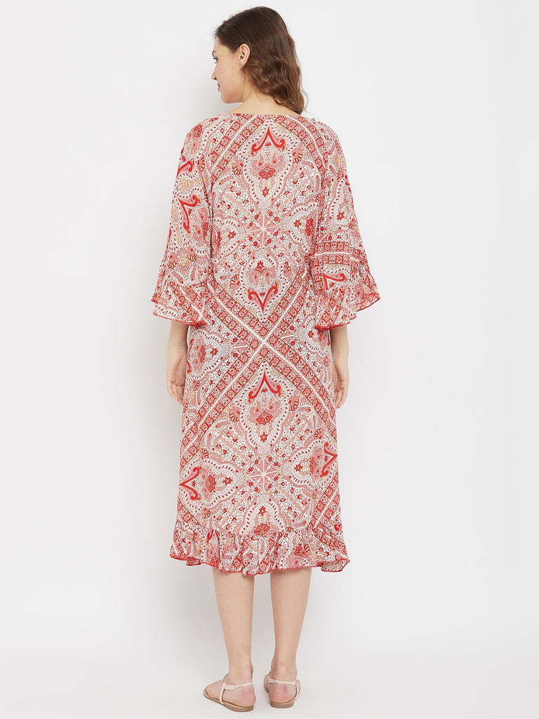 Red and Off White Contrast Print Maternity and Feeding Dress with Waist Tie-up