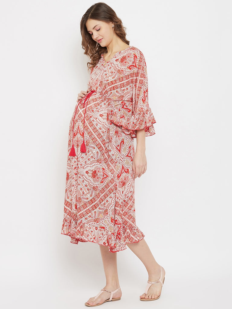Red and White Contrast Print Maternity and Feeding Dress