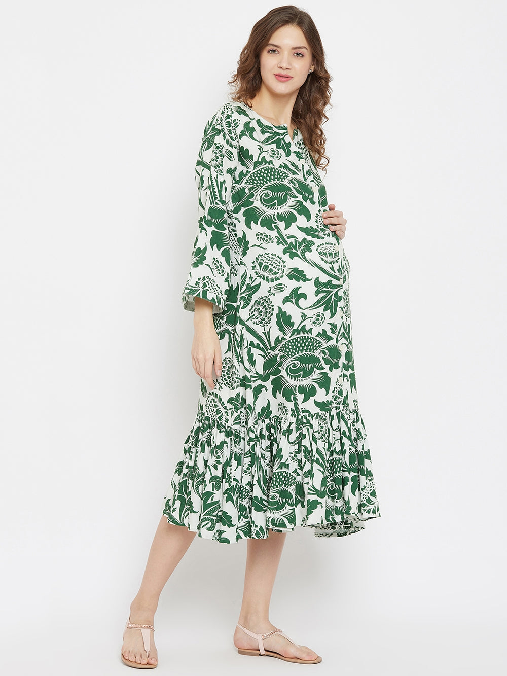 Botanical Emerald Printed Midi Length Maternity and Feeding Dress with Ruffles