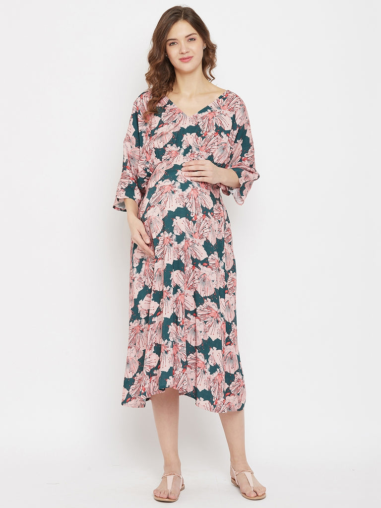 Peach Floral Printed Midi Length Maternity Dress