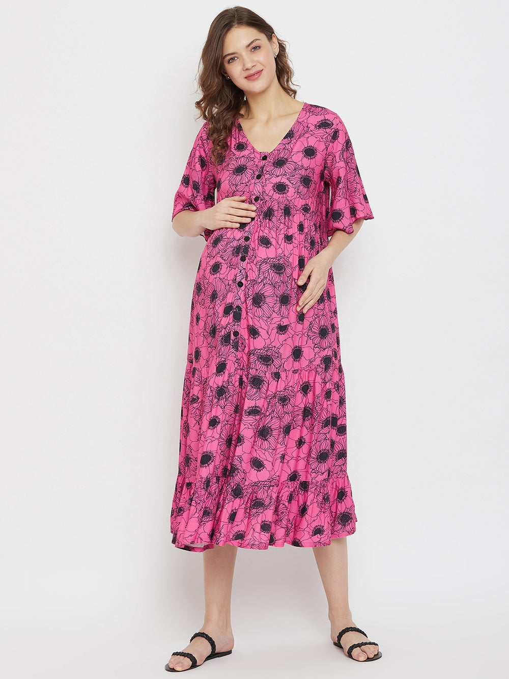 Midi Length Tiered Maternity and Feeding Dress