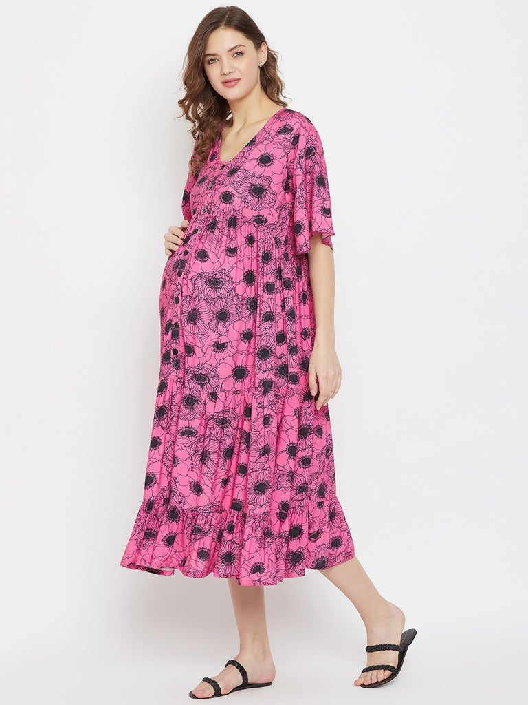 Fuchsia Poppy Floral Printed Midi Length Tiered Maternity and Feeding Dress