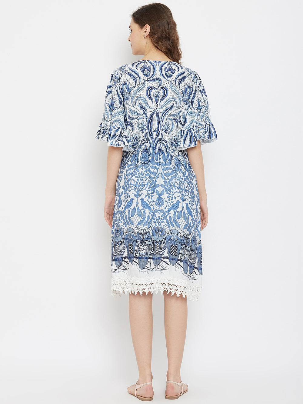 Indigo Owls Printed Maternity Dress