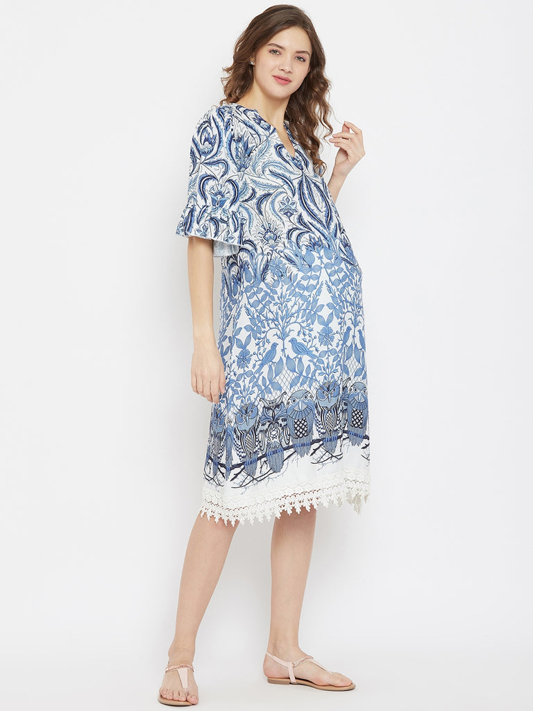 Indigo and White Printed Knee Length  Maternity Dress with Lace