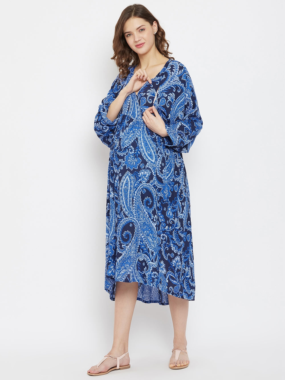 Cobalt Blue Paisleys Knee Length Maternity and Feeding Dress with Hi-Low Hem