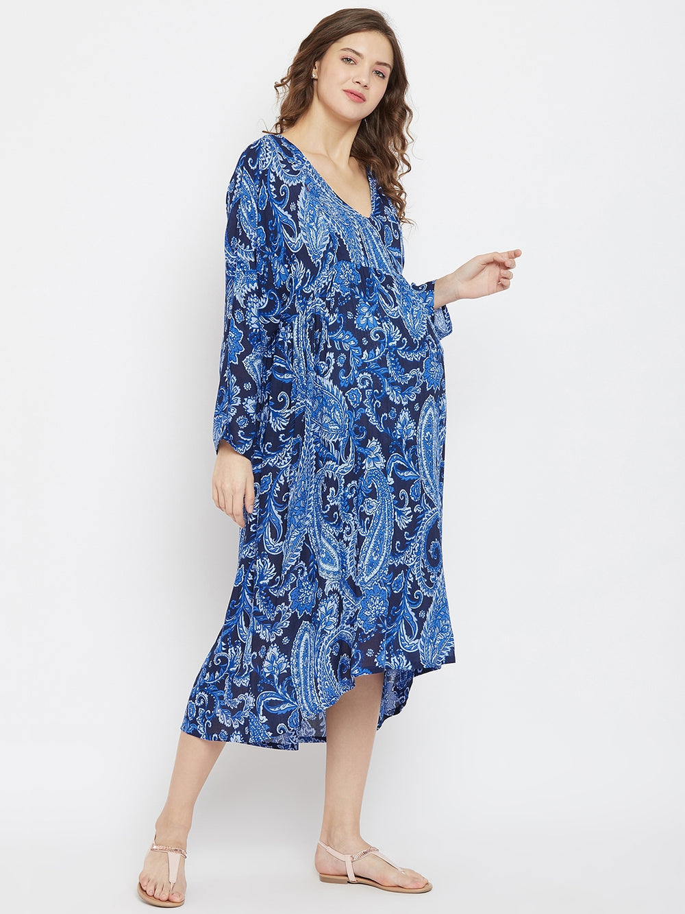 Cobalt Blue Paisleys Maternity and Feeding Dress