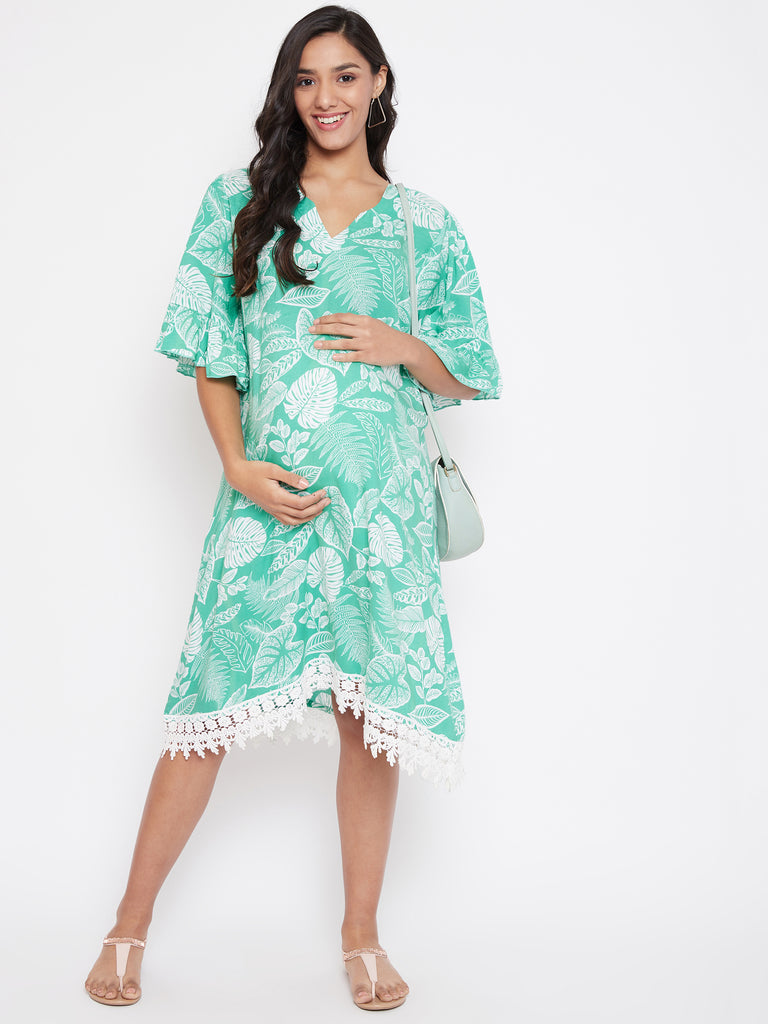 TROPICAL PRINTED MATERNITY DRESS