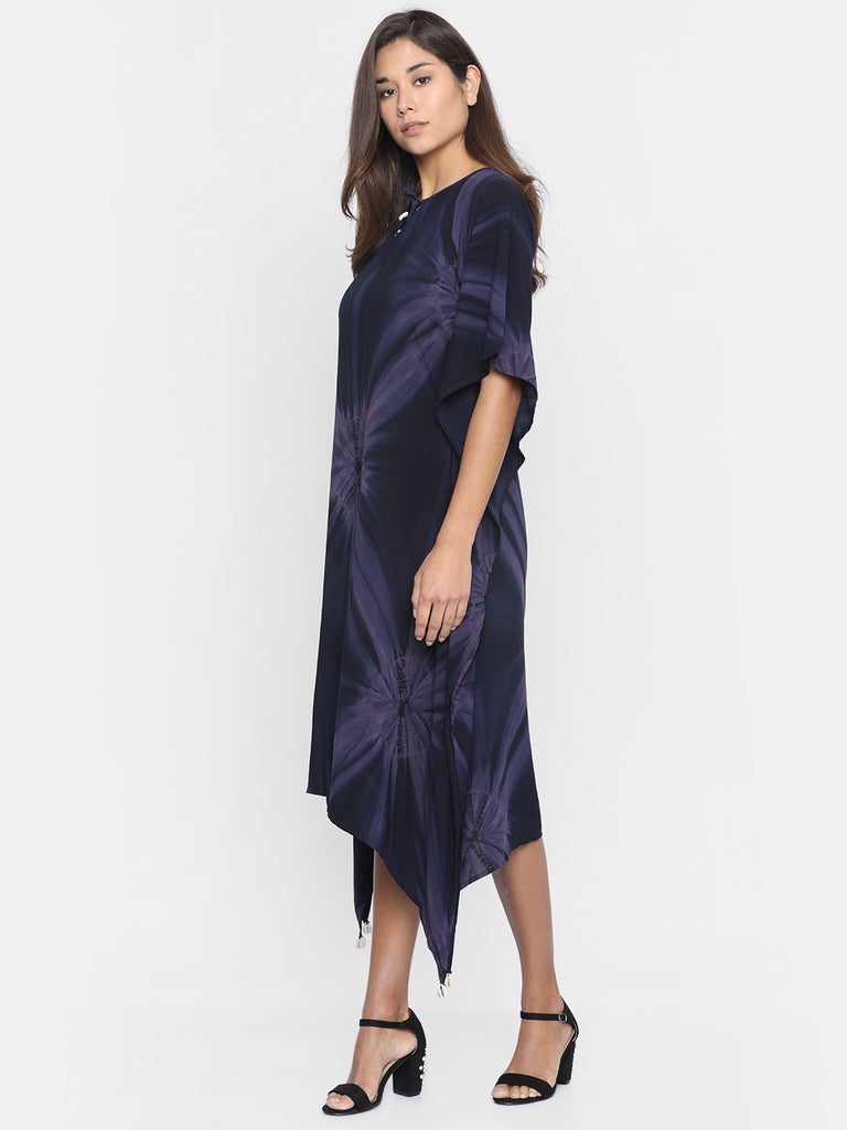 MIDNIGHT SHADES TIEDYE KAFTAN DRESS