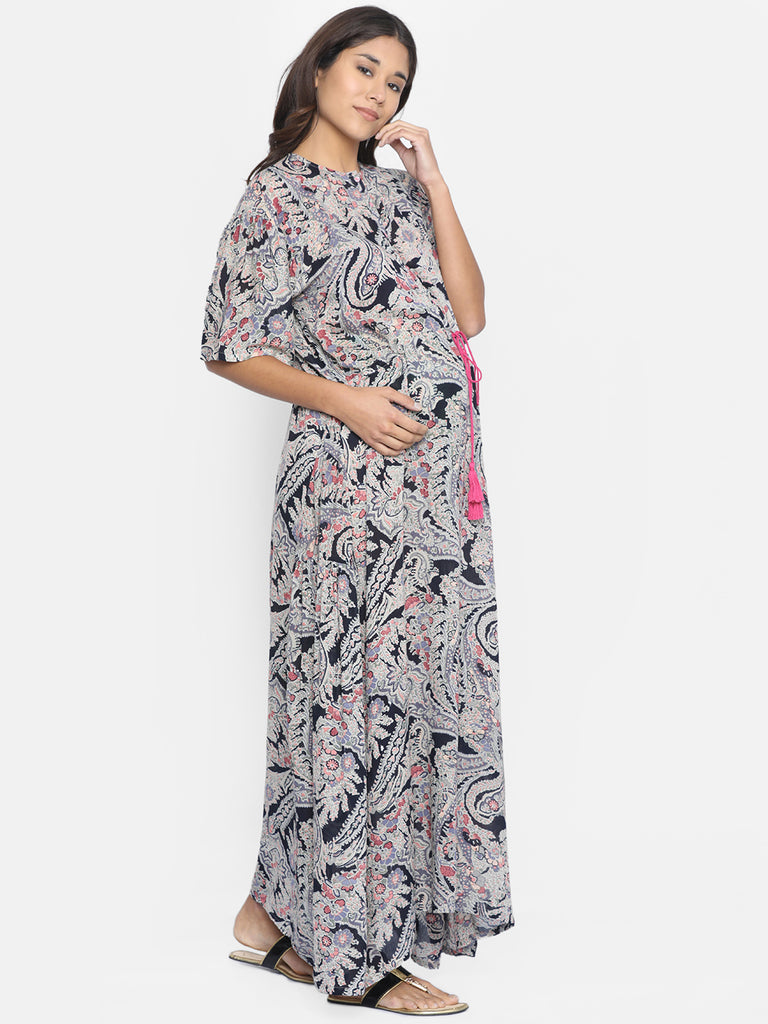 CRYOLA PRINTED MATERNITY WEAR KAFTAN DRESS