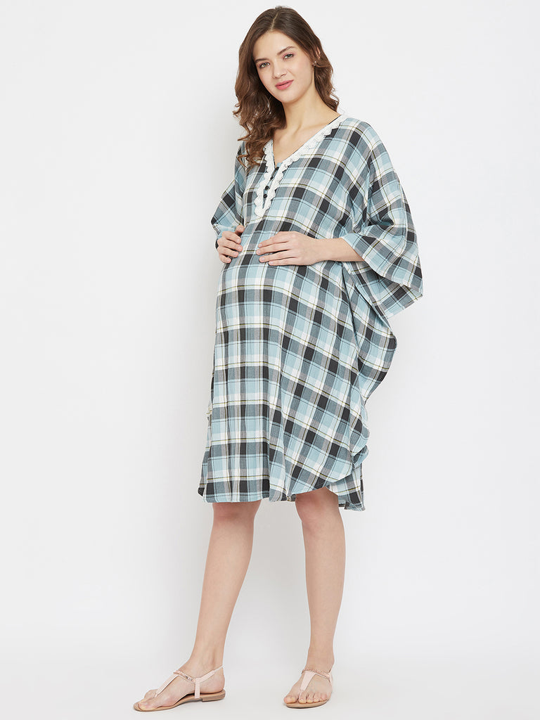 Shades Of Blue Checkered Knee Length Maternity and Feeding Dress with Lace