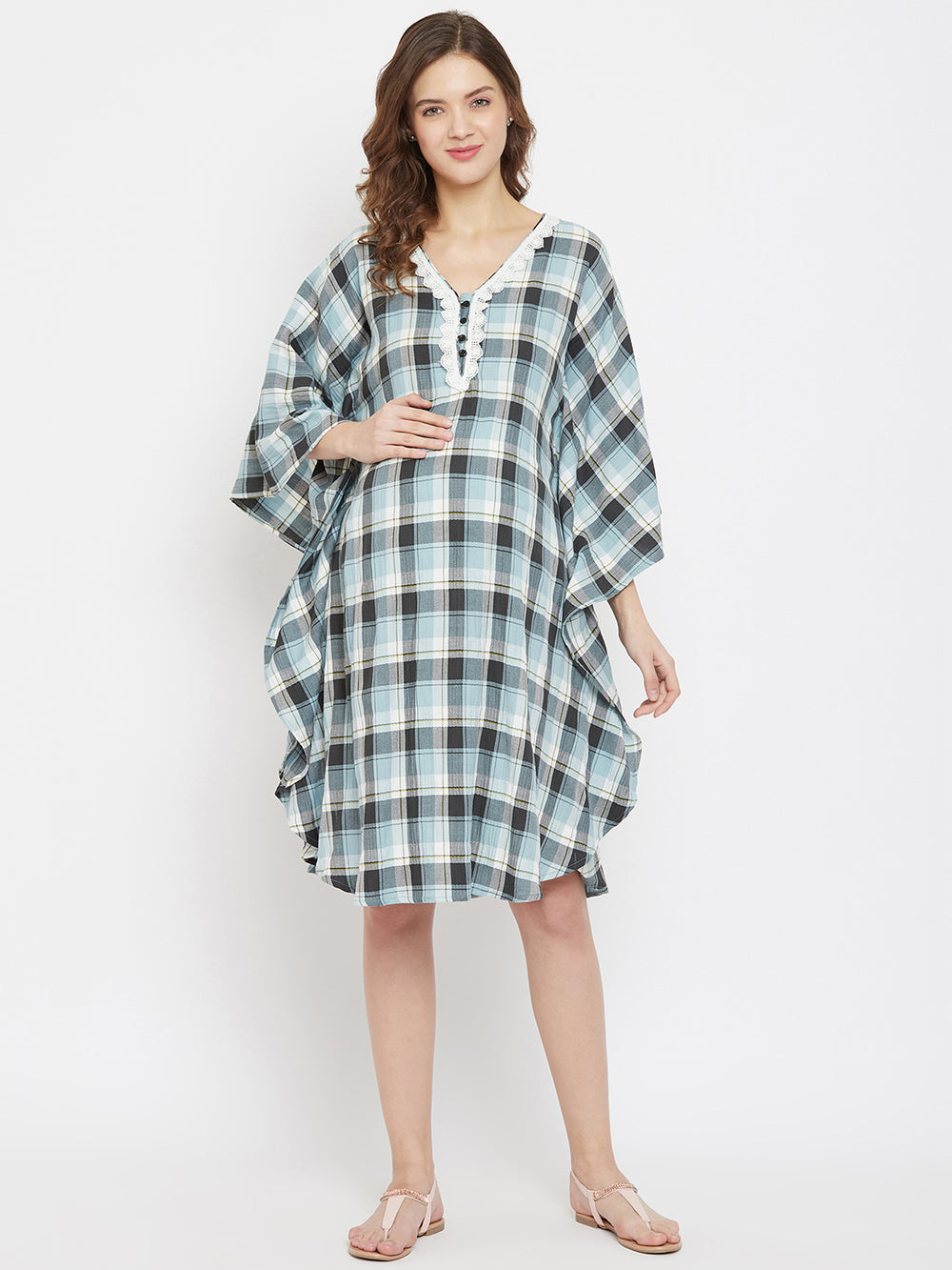 Blue Checks Maternity and Nursing Kaftan