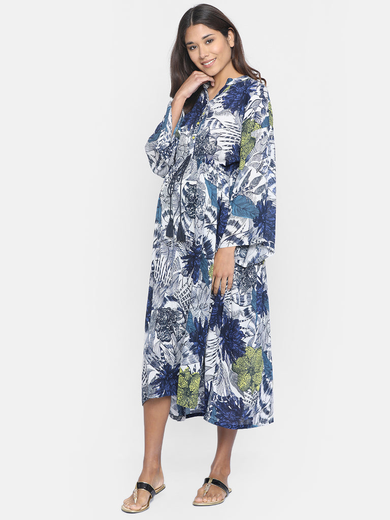 CERULEAN JUNGLE MATERNITY WEAR KAFTAN DRESS