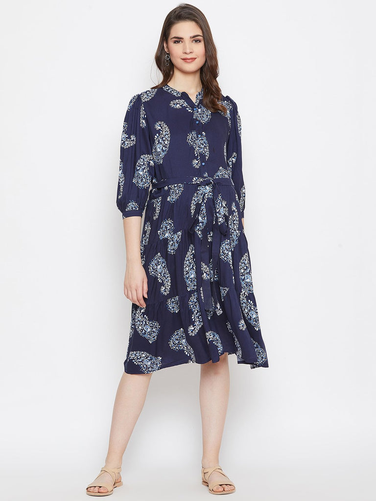 Women Maternity Navy Blue Printed Shirt Dress